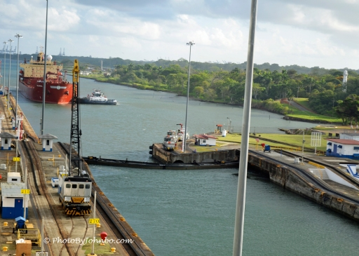 Container Ship At Gatun Lock