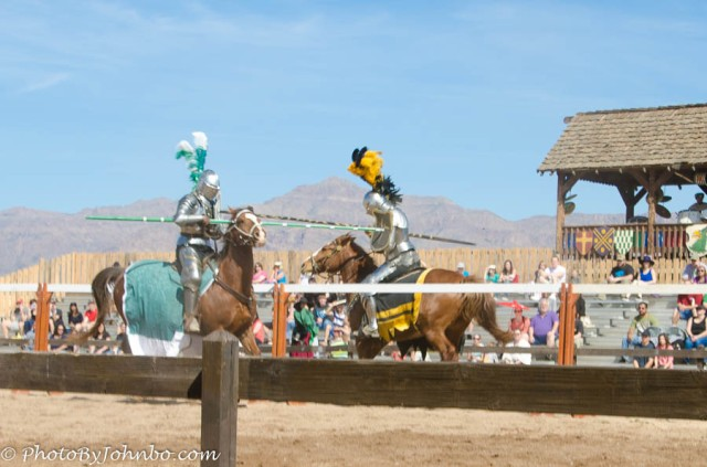 Look closely at the shields on the jousters. Both scored a direct hit on the opponent.