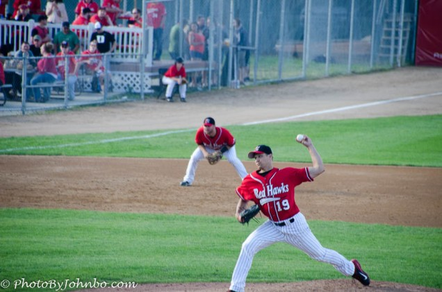 Jake Laber about to release a fastball