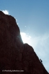 A lone climber challenges an ascent in the Garden of the Gods at Colorado Springs, Colorado.