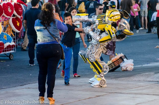 While we awaited the start of the parade, a Transformer entertained the crowd and posed for photos with children.