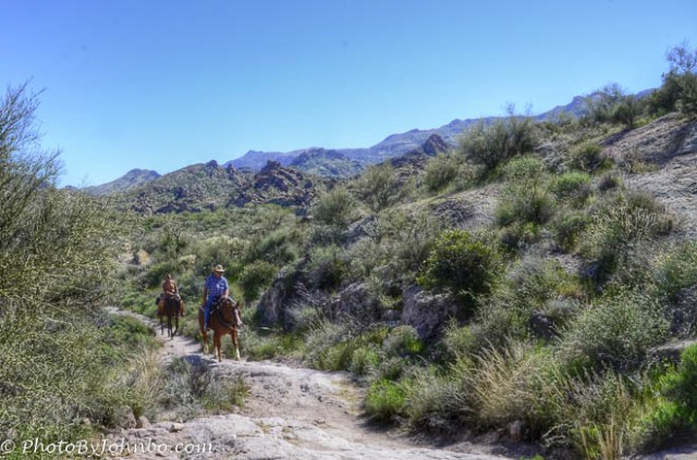 The trail is shared with horses, but no motorized vehicles are allowed.