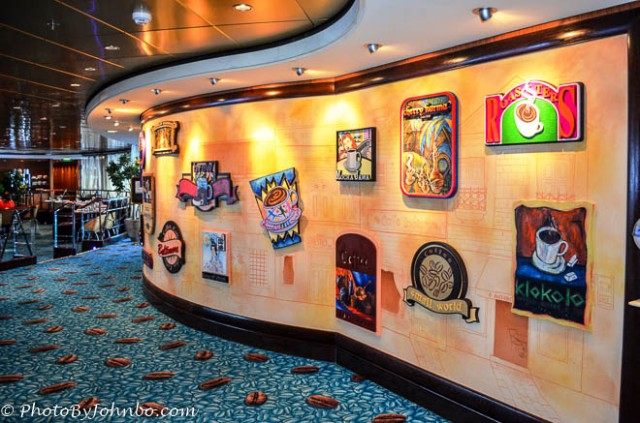 The coffee wall at the Blue Lagoon on the cruise ship Norwegian Pearl.