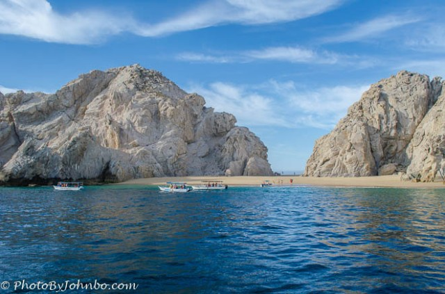 Lover's Beach from the Sea of Cortez. Once you land on the beach, it's a short walk to the Pacific Ocean side of the beach.