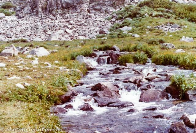 A stream fed with snow-melt.