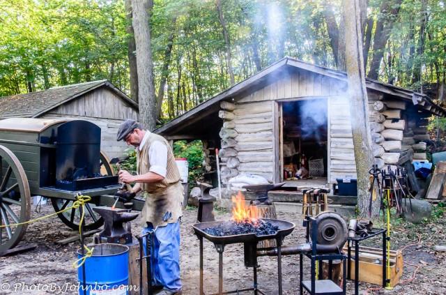 One of the many blacksmiths demonstrating their skills.