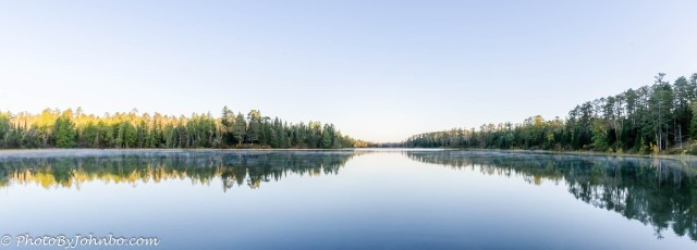 Lake Itasca on a still morning.