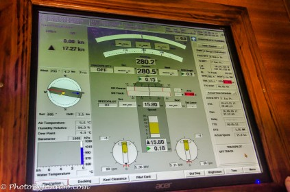 Ship control screen viewed from the bridge observation deck.