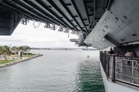 From the aft hangar deck, a San Diego landmark statue can be seen.