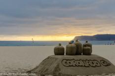 Sand sculpture at sunset