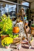 Seasonal antiques display.