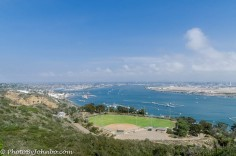 A ball field overlooks the harbor.