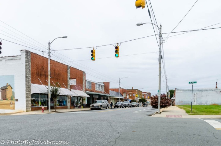 Siler City today, from the same vantage point as the mural in the opening image.