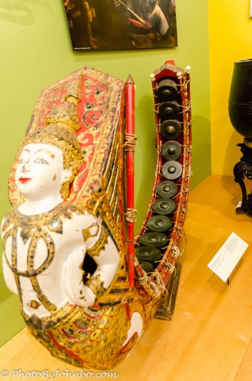 Many instruments are elaborately sculpted.