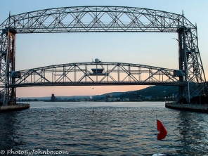 The famous lift bridge at the port of Duluth-Superior is both the frame and the subject.