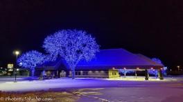 Festive lighting on a Fargo bank.