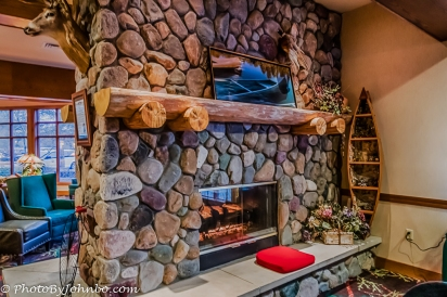 Fireplace in the resort lobby.