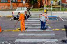 Work crew painting street lines, Bisbee, AZ