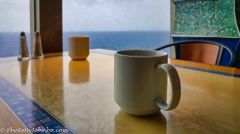 Early morning coffee at sea