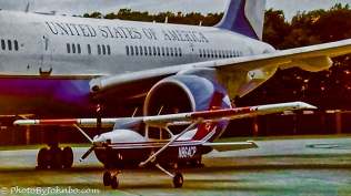 """Slide """"stolen"""" from one of the CAP presentations, a CAP aircraft with Air Force One in the background."""