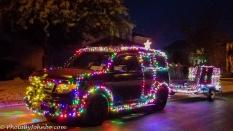 Festive lights on a neighborhood car.