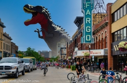 Oh No! A giant T-Rex is attacking my home town!